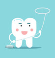 happy healthy cartoon tooth character with vector image