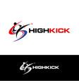 high kick taekwondo logo symbol icon vector image vector image