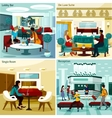 Hotel Interior Concept Icons Set vector image vector image