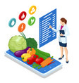 isometric healthy food and diet doctor s vector image