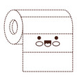 kawaii roll paper towel in brown dotted silhouette vector image vector image