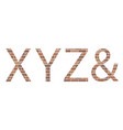 letters xyz in bricks vector image vector image