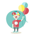 little boy wearing clown nose with air baloons vector image vector image
