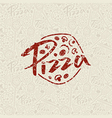 Pizzeria seamless pattern and emblem vector image vector image