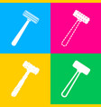 safety razor sign four styles of icon on four vector image vector image