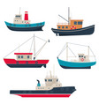 set of different fishing boats and tug boats vector image vector image