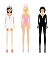 Sexy women in erotic role play costumes vector image vector image