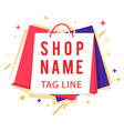 shop name tag line colorful shopping bag im vector image vector image