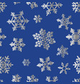 silver snowflakes on blue for christmas gift box vector image