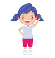 smiling girl waving hand vector image