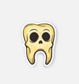 sticker skull tooth vector image vector image