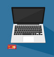 top view of laptop computer with credit card vector image
