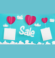 valentines day of sale banner as paper style vector image vector image