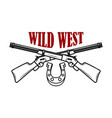 wild west emblem template with crossed rifles vector image vector image