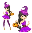 Witch In Purple Dress With Pumpkin vector image