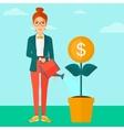 Woman watering money flower vector image