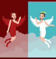 angel and evil character represents good and bad vector image