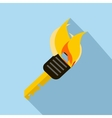 Burning torch icon in flat style vector image