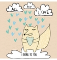 All my love romantic card with romantic message vector image