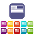 american flag icons set vector image vector image