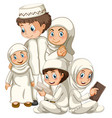 arab muslim family in traditional clothing vector image