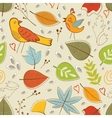 Autumn pattern with birds flowers and leaves vector image vector image