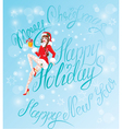 Brunette Pin Up Christmas Girl wearing Santa Claus vector image