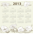 Calendar for 2013 with flowers vector image