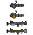 cartoon machine guns and bazooka icons vector image vector image