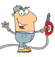 Caucasian Cartoon Gas Attendant Man vector image vector image