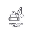 demolition crane line icon sign vector image