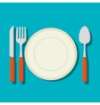 dish with cutlery isolated icon vector image