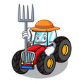 farmer tractor character cartoon style vector image
