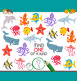 find one animal of a kind game for children vector image vector image