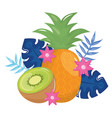 fresh pineapple and kiwi with floral decoration vector image