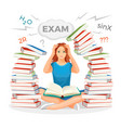 girl student surrounded with books and prepares vector image
