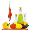 glass bottles of oils and vegetables healthy vector image
