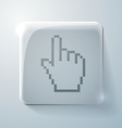Glass square icon mouse hand cursor vector image