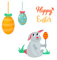 holiday bright design with cute easter rabbit vector image