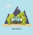 house on the tree for adults and kidsflat vector image