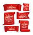 merry christmas paper banners set five red vector image