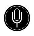 microphone sign icon black and white vector image vector image