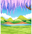 Nature scene with green field and willow tree vector image vector image