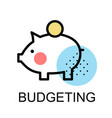 piggy bank icon for budgeting vector image vector image