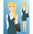 Pretty young business woman with a folder vector image vector image