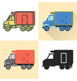 refrigerator truck icon set in flat and line vector image