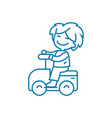 riding a toy car linear icon concept riding a toy vector image vector image