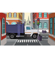 rubbish truck on crossroad municipal vector image vector image