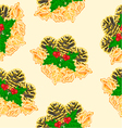 Seamless texture pine cones and holly vector image vector image