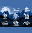 set hiking emblems on background vector image vector image